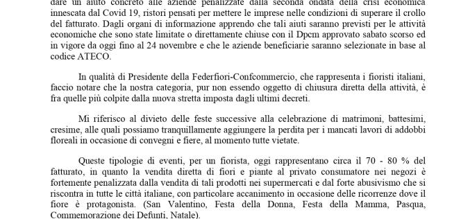 Federfiori-Confcommercio scrive al Presidente del Consiglio Giuseppe Conte