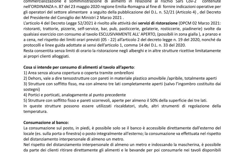 AGGIORNAMENTO ALLE INDICAZIONI TECNICHE PER LE ATTIVITA' DI PRODUZIONE, COMMERCIALIZZAZIONE E SOMMINISTRAZIONE DI ALIMENTI IN RELAZIONE AL RISCHIO SARS CoV-2