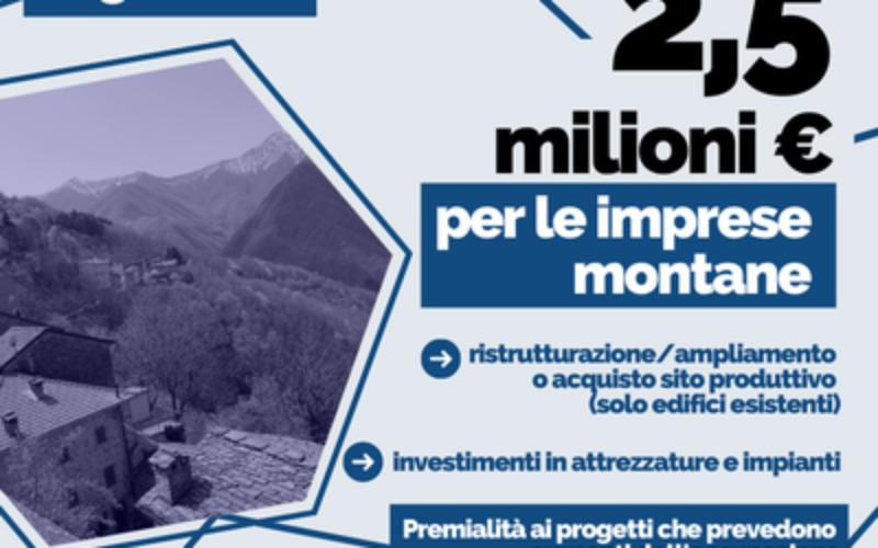 Montagna, ripartire da innovazione e lavoro: bando da 2,5 milioni di euro per le imprese